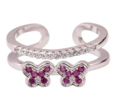 Twin Flower 92.5 Sterling Silver Toe Ring Adjustable Studded With Pink Tourmaline And American Diamond