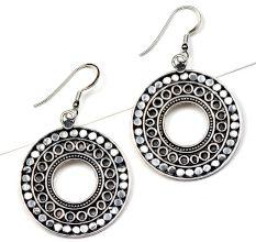 Engraved Disc 92.5 Sterling Silver Earrings Fancy Danglers For women
