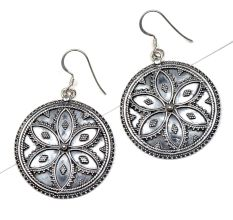 92.5 Sterling Silver Earrings Round Floral Design Filigree Work