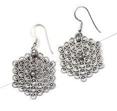 92.5 Sterling Silver Earring Honey Bee Comb Dangle Earrings