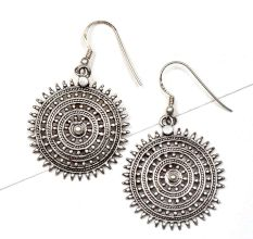 Round Sun 92.5 Sterling Silver Earrings Filigree Starry Pattern Dangle Earrings