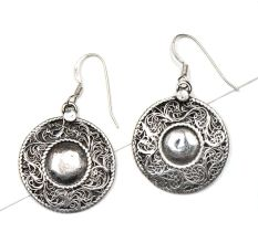 92.5 Sterling Silver Earrings Round Centre With  Filigree Floral Design