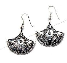 92.5 Sterling Silver Earrings Tribal Diya Dangler Earrings