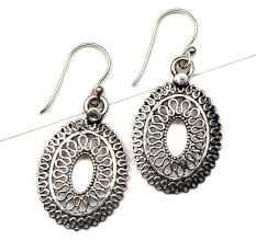 Oval 92.5 Sterling Silver Earrings Traditional Filigree Design