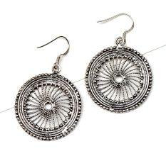 92.5 Sterling Silver Earrings With Wheel Filigree Round Dangler Earrings