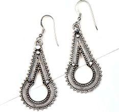 92.5Sterling Silver earrings Elongated Embossed Dotted Design Drop Danglers