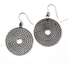 Round 92.5 Sterling silver Disc Earrings  Ornate Design Danglers