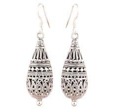 Long Tear Drop 92.5 Sterling Silver Earrings Tribal Engraved Design Single Bead Bottom