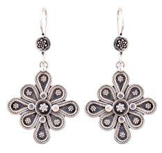 Eight Petals 92.5 Sterling silver Earrings Floral Embossed Danglers For Women