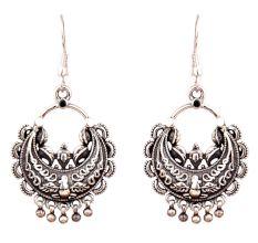Oxidized 92.5 Sterling Silver Earring Chandbali Engraved Dangler Earrings