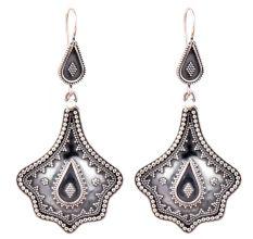 Oxidized 92.5 Sterling silver Earrings Petal Embossed Design Dangler for women