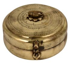 Brass Round Tiffin Box Traditional Design Handle and latch
