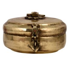 Golden Tribal Round Brass Tiffin Box For Home Decoration