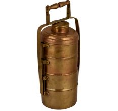 Brass Tiffin Box Four Compartments and a Small Storage Box With Lock Handle