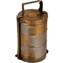 Simple Brass Three Tier Tiffin Box With A Thick Metal Frame And Lock