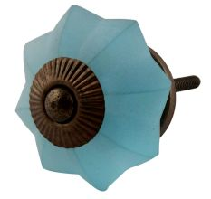 Turquoise Frosted Melon Glass Cabinet Knobs