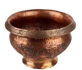 Copper Pot Ornate Carved Leafy Pattern On Round Stand