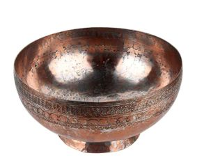 Copper Bowl With Moghul Style Engraving with a  Round Base