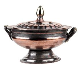Copper Sugar Bowl With Fluted Design And Final Lid On Stand and Two Handles