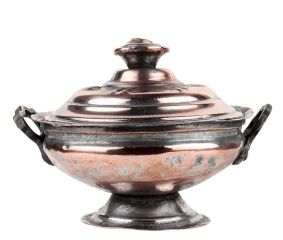 Handmade Copper Sugar Bowl With Lid And Circular Base And Stand