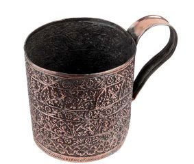 Copper Cup With Chiseled Floral Decoration And a wide Handle