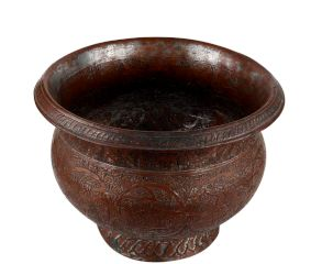 Copper Pot And Planter Engraved Tribal Flower Design