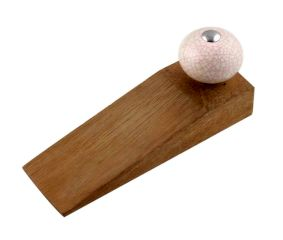 Cream Pink Crackle Crackle Wooden Door Stopper