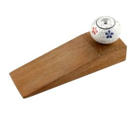 Mixed Floral Crackle Ceramic Wooden Door Stopper