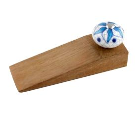 Turquoise Floral Crackle Ceramic Wooden Door Stopper