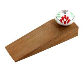 White Red Floral Crackle Ceramic Wooden Door Stopper