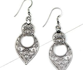 92.5 Sterling Silver Earrings  Chandelier Filigree Dangler Earrings