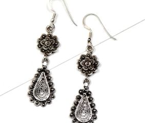 92.5 Floral Stud Oval Drop Engraved Filigree Dangler Earrings