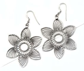 Handcrafted 92.5 Sterling Silver Dangler Earrings Filigree Floral Danglers
