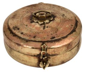Old brass Round Brass Tiffin Box Engraved Design Handle And Latch