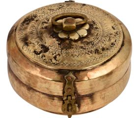 Used Round Brass Tiffin Box Engraved Beaded Design Handle and Latch