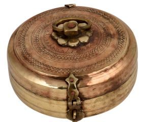 Round brass Tiffin Box With Fine Engraved Design With Latch And Decorative Handle