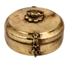 Golden Tribal Round Brass Tiffin Box For Home Decoration