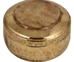 Hand Hammered Brass Round Tiffin Box