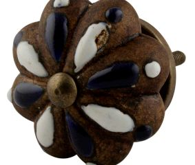 Antique Floral Melon Ceramic Dresser Knobs