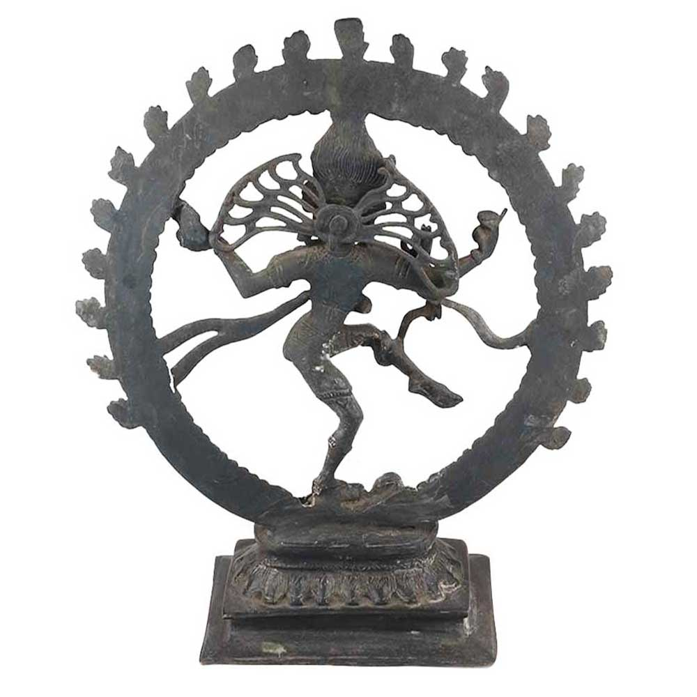 Brass Shiv Natraja Statue Surrounded By Rings Of Flame