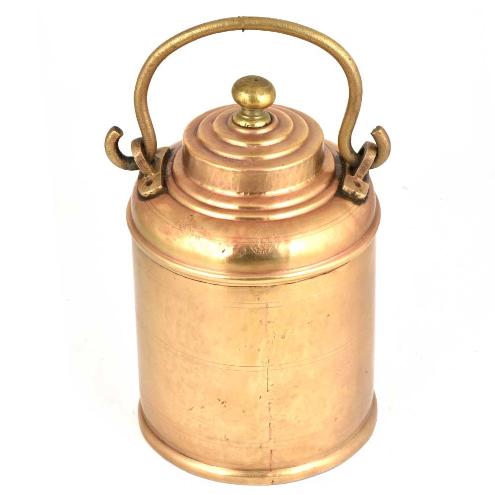 Brass Milk Pot Rings Engraved  On Lid And Knob Finial