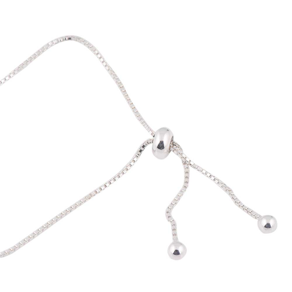 Adjustable 92.5 Sterling Silver Bracelet With Twisted Heart Crystals Pendant