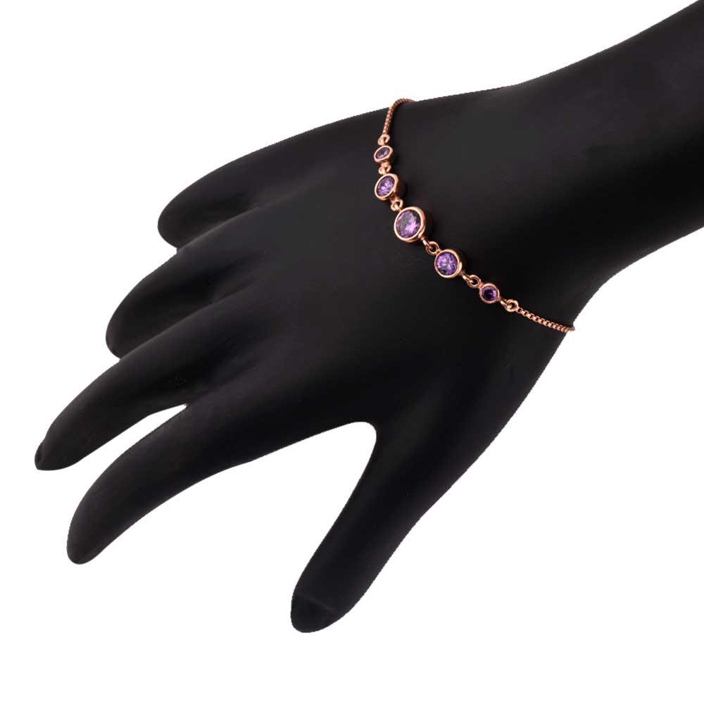 Round Amethyst 92.5 Sterling Silver Adjustable Bracelet In Rose Gold Polish