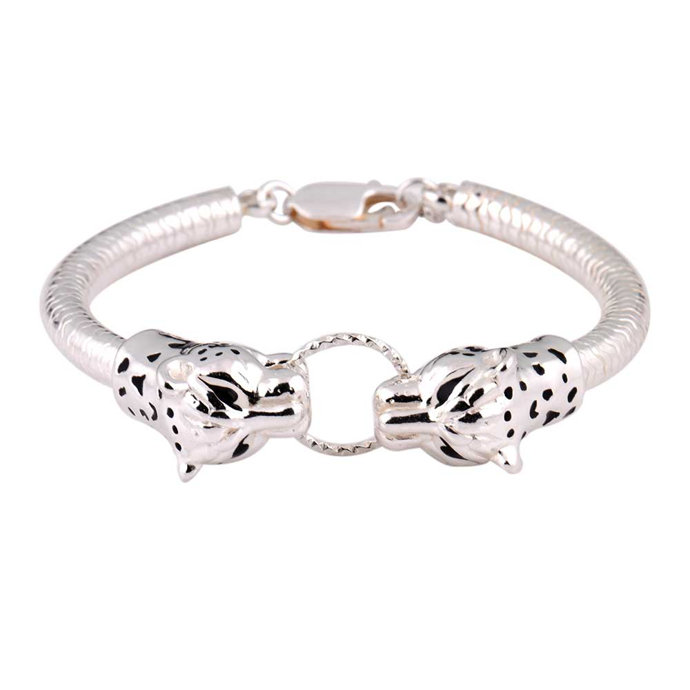 92.5 Sterling Silver Bracelet Adjustable Kadaa Two Tiger Face With Ring In Mouth
