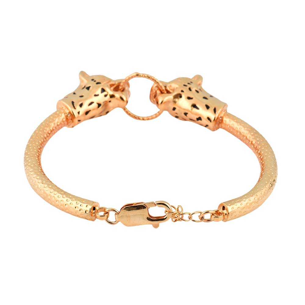 Gold Plated 92.5 Sterling Silver Bracelet Adjustable Kadaa Two Tiger Face With Ring In Mouth