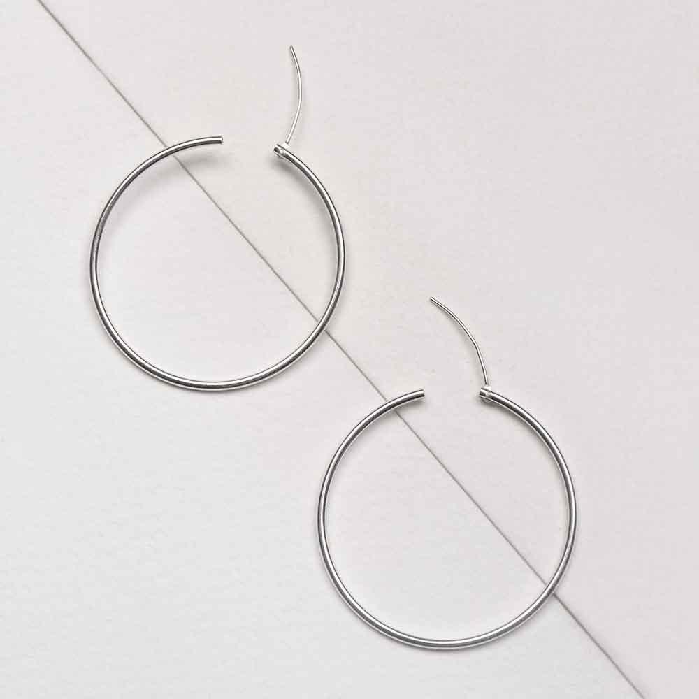 92.5 Sterling Silver Hoop Earrings For Every Day Wear
