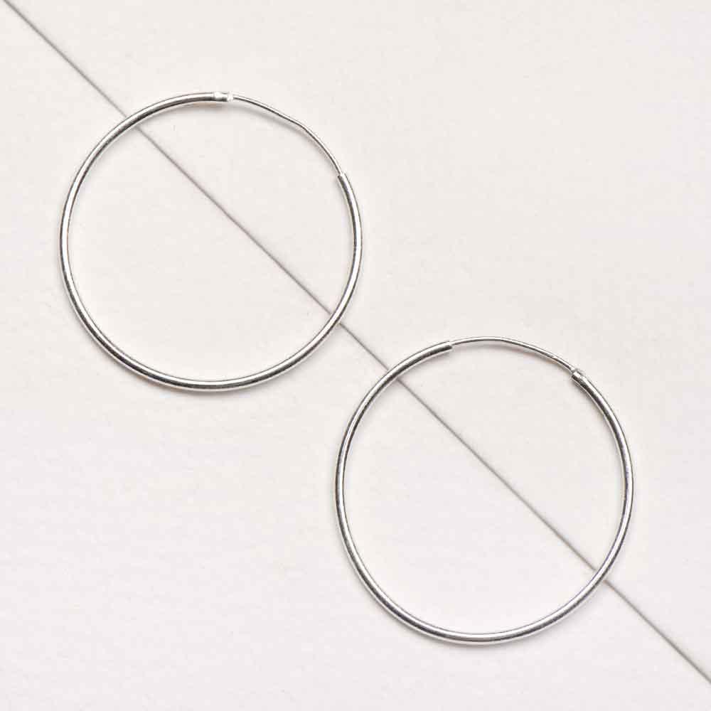 Medium Size 92.5 Sterling Silver Hoop Earrings For Women