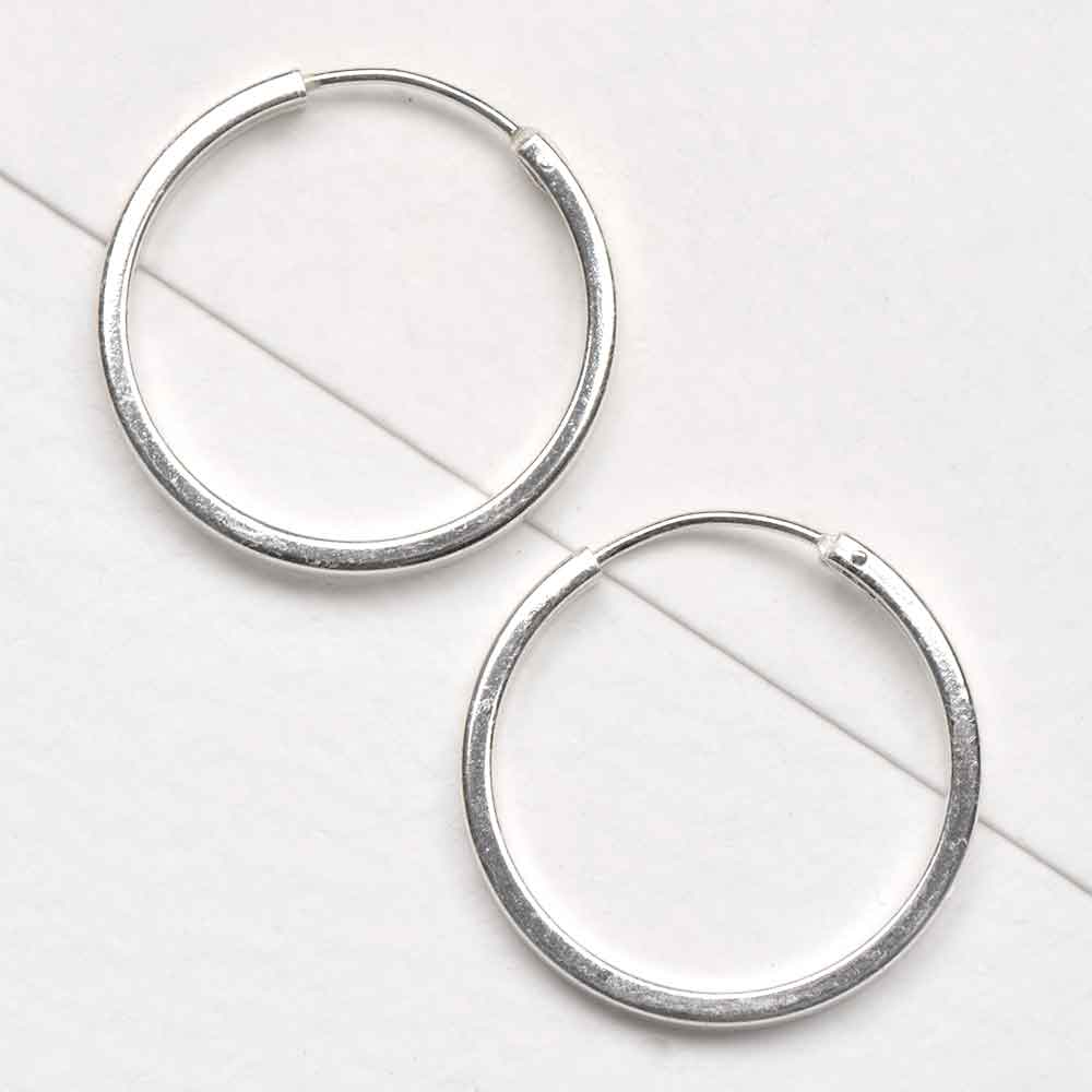 92.5 Sterling Silver Hoop Bali Earrings For Women