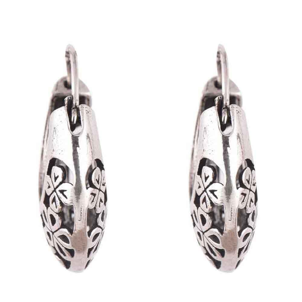 Floral 92.5 Sterling Silver Earrings Bali Hoop Earrings