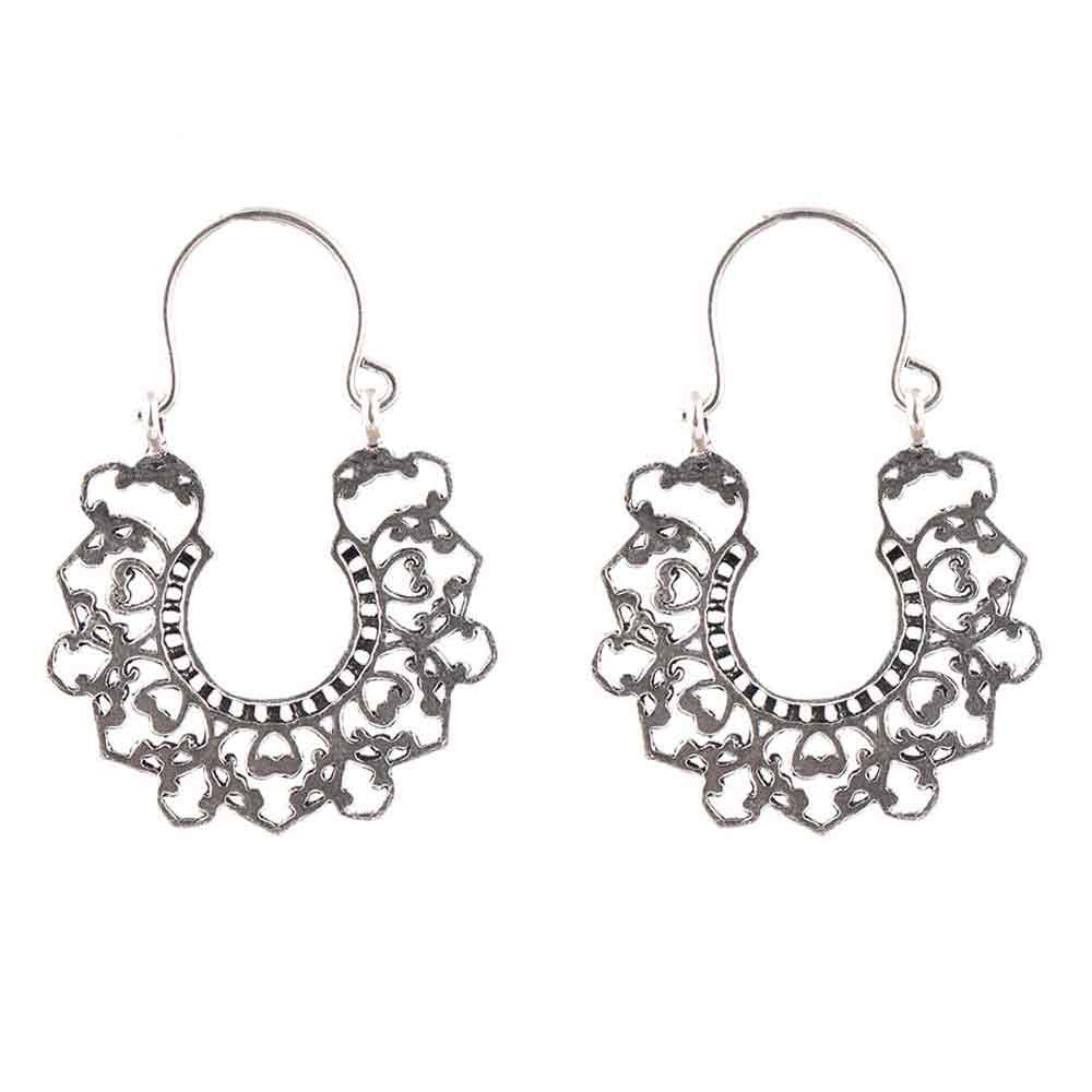 92.5 Sterling Silver Earrings Bali Filigree Heart Drop Dangler